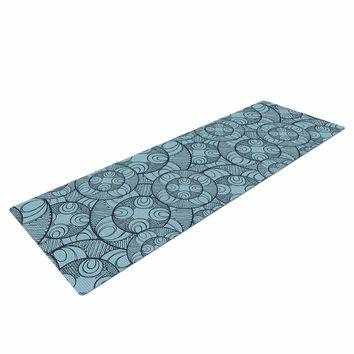 "Maike Thoma ""Layered Circles Design"" Blue Floral Yoga Mat"