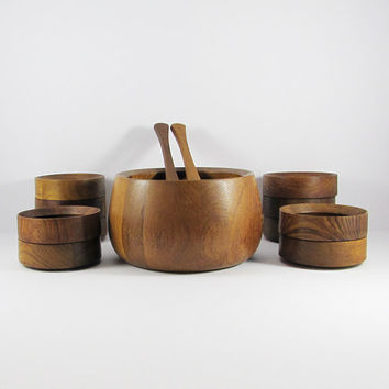 Mid-Century Dansk International, Danish Modern Teak Salad Bowl Set, Tongs, 10 bowls, 12 pieces