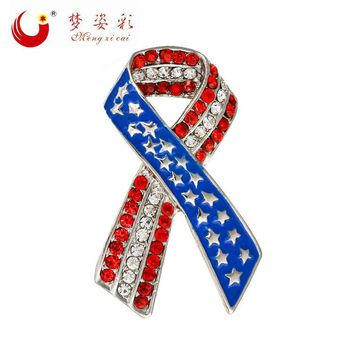 MZC Classical American Flag Stars Brooch For Women Male 2016 New Brooches Enamel Pin Collar Pin Broches Mujer Vintage Bouquets