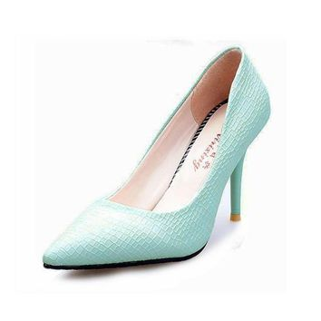 Hot Sale European OL Style Office Career Women Snake Skin Candy Color Pumps Sexy Point
