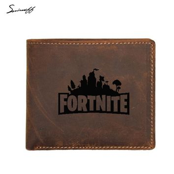 Genuine Leather Wallet Men FRID Protection Multi Card Purse Bag Custom Name Coin pocket Purse Male Game Fortnite Wallets