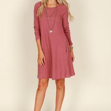 Long Sleeve Waffle Dress Red Bean