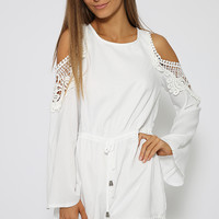 Many Moons Playsuit - White