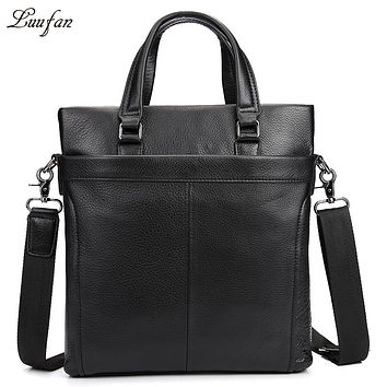 Men's genuine leather tote bag black cow leather business bag Real leather messenger bag casual bag vertical briefcase