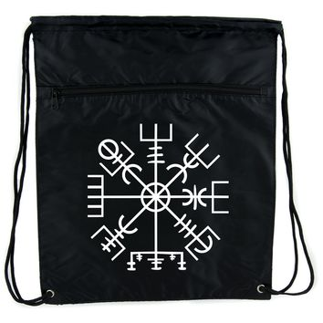 Vegvisir Viking Compass Symbol Cinch Bag Drawstring Backpack Viking Old Norse