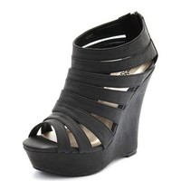 Strappy Caged Wedge Bootie: Charlotte Russe