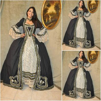 Customer-made Black Cosplay Renaissance Dress Victorian Costumes Civil war Dress Steampunk dress Gothic Halloween Dress C-665