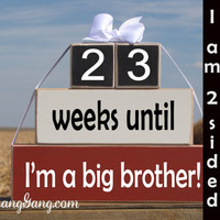 """Pregnancy announcement countdown. Wood Stacking Blocks. """"weeks until I'm a big brother"""". Sibling gift. Big sister gift. RED, WHITE, BLACK"""