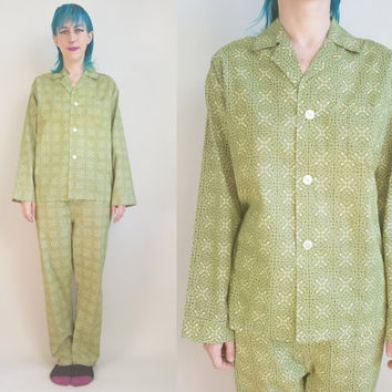 70s Clothing Pajama Set Vintage 70s Pajamas Lime Green and White Pajamas Hanes Permanent Press Cotton Mens Medium Womens Large