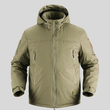 Tactical Warm Down Cotton Padded Military Jacket Men Winter Waterproof Army Jacket Super Thermal Portable Parka Coat