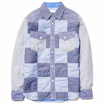Quilted Cotton Stripe Madras Western Shirt