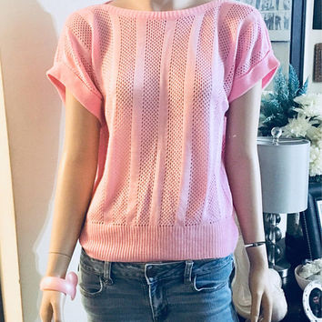 Vintage 1980s Pretty in Pink Boatneck Sweater Size Medium Antique Alchemy