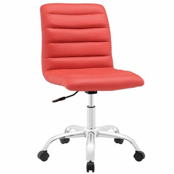 Ripple Armless Mid Back Office Chair Red