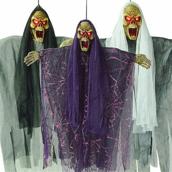Halloween Decoration Voice Activated Hanging Ghost with Glowing Red Eyes Animated Ghost Haunted House Halloween Props Decoration
