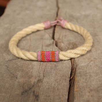 Organic rope necklace African jewelry Organic seed beaded pink orange collar necklace Handcrafted artisan jewelry Gift for friend