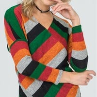 Somewhere Over the Rainbow Long Top in Red & Green