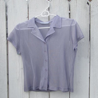 Lavender Sheer Button Down Top Size Medium