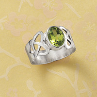 Peridot Celtic Knot Ring - New Age, Spiritual Gifts, Yoga, Wicca, Gothic, Reiki, Celtic, Crystal, Tarot at Pyramid Collection