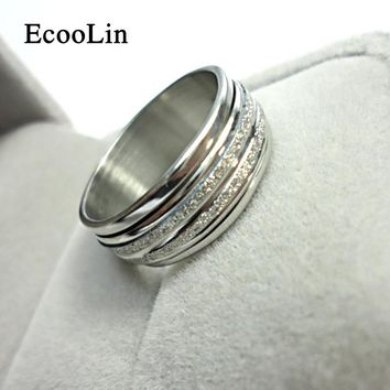 Never Fade Sliver Frosted Rotation Ring 2016 Fashion Jewelry For Man Woman Jewelry Stainless Steel Rings Free Shipping LR052