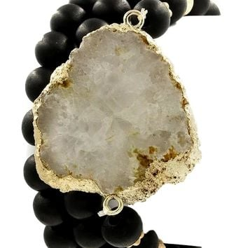 Wood bead genuine druzy stone stretch bracelet set, Black