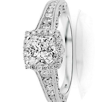 .1.75 Ctw 14K White Gold GIA Certified Princess Cut Vintage Halo Style Channel Set Round Brilliant Diamond Engagement Ring Milgrain, 1 Ct I-J VS1-VS2 Center