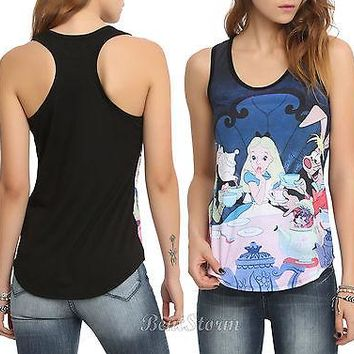 Licensed cool NEW disney ALICE IN WONDERLAND TEA PARTY SUBLIMATION RACER BACK TANK TOP S-XL