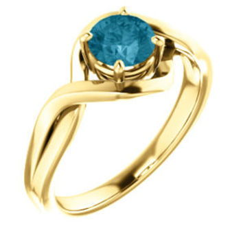 14K Yellow 5.5mm Round Genuine London Blue Topaz Ring