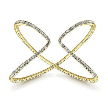 14K Yellow Gold Pave Diamond Open Cuff Bangle Bracelet