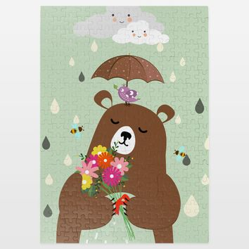 A Rainy Day For Bear Jigsaw Puzzle by Playedonwalls on BoomBoomPrints