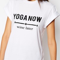 ASOS TALL T-Shirt With Yoga Now Wine Later Print