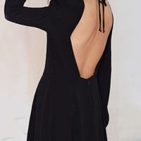 Black Long Sleeve Backless Dress with Back Zipper