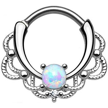 Single Opal White Lacey Septum Clicker 316L Surgical Steel
