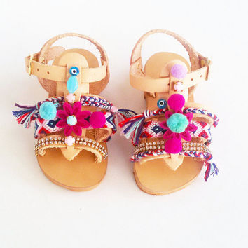 Kids Spartan Sandals | Baby Boho Sandals |  Girls Bohemian Sandals ''Sugar Cherry''
