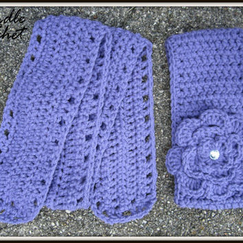 Crochet Baby Headband and Scarf, Child Earwarmer, Purple Ear Warmer and Scarf, Knit, Made to Order, Removable Flower