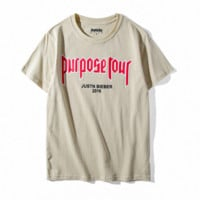"""Purpose Tour"" Fashion Casual Loose Monogram Print Tee Tops"