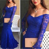 long prom Dress,royal blue prom Dress,lace prom dress,long sleeves prom dress,evening dress,PD467