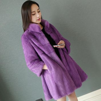 80cm long womens genuine real mink fur coat whole skin stand collar mink coat lady long outerwear jacket coats D22