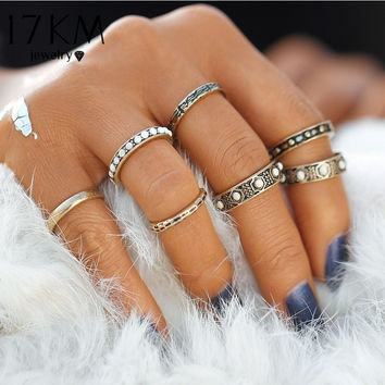 7Pc Vintage Bohemian Turkish Beads Midi Rings