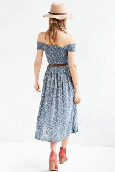 deafb7d8f5f2 Kimchi Blue Picnic Smocked Off-The-Shoulder Midi Dress