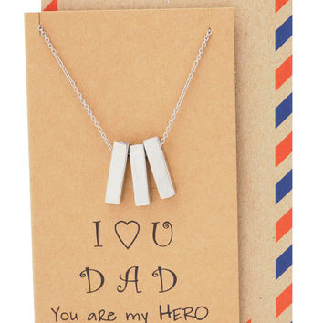 Phil Father's Day Gifts, Personalized Necklaces with Greeting Card