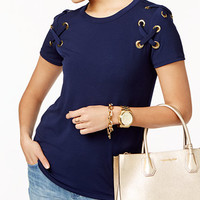 MICHAEL Michael Kors Lace-Up T-Shirt | macys.com
