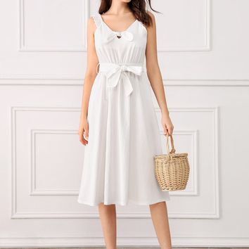 Tie Front Belted Midi Slip Dress