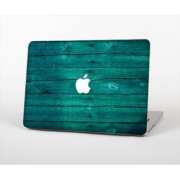 The Bright Emerald Green Wood Planks Skin Set for the Apple MacBook Pro 15""