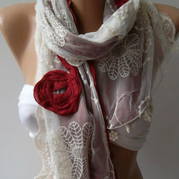 Red - Elegance Shawl / Scarf with Lace Edge-