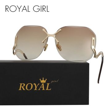 ROYAL GIRL New Arrive Fashion Square Rimless Sunglasses Women Vintage Brand UV400