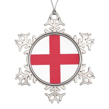 Snowflake Ornament with England Flag