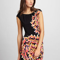 ideeli | LONDON TIMES Cap Sleeve Flower Dress