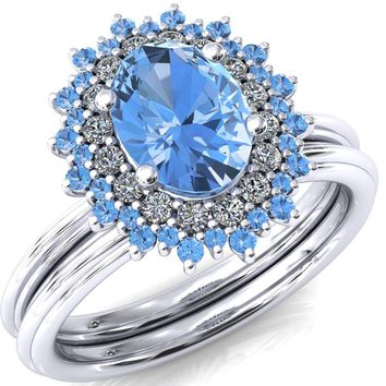 Eridanus Oval Aqua Blue Spinel Cluster Diamond and Aqua Blue Spinel Halo Wedding Ring ver.2