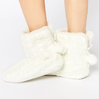 Totes Knitted Bootie Slippers