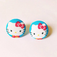 Handmade Hello Kitty Pink and Blue Fabric Earrings 7/8 inch
